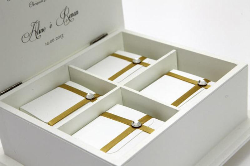 Convites Para Padrinhos Quattro Caixa Com Bem Casado