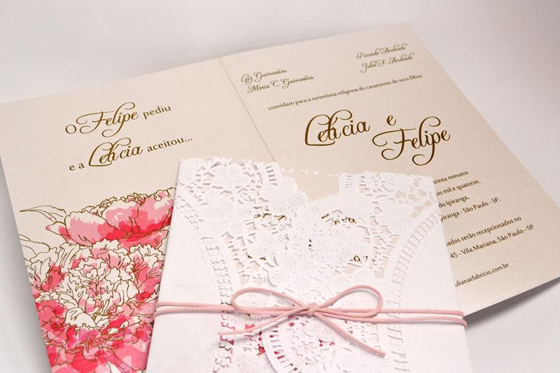 Convites De Casamento Rendado Minha Vida Convite Papel E Estilo