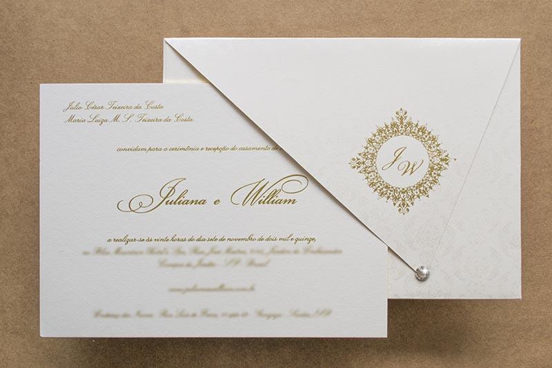 convites tradicionais de casamento papel e estilo