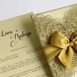 Convite de casamento com corte a laser  Livia