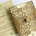 Convite de casamento com corte a laser – Marília
