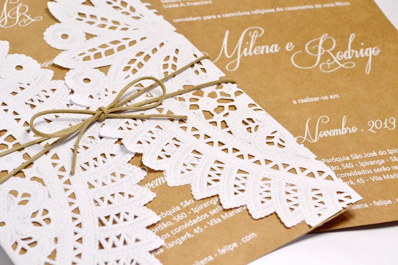 Convites De Casamento Rendado Por Amor Papel E Estilo