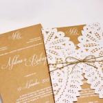 Convite de casamento rendado – Por Amor