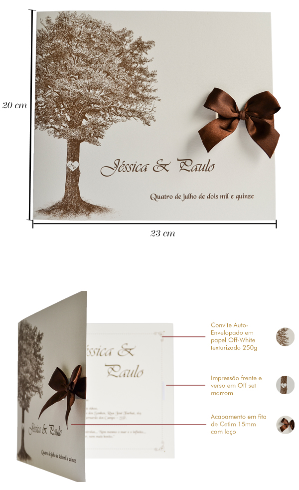 Convites de casamento Soft Árvore