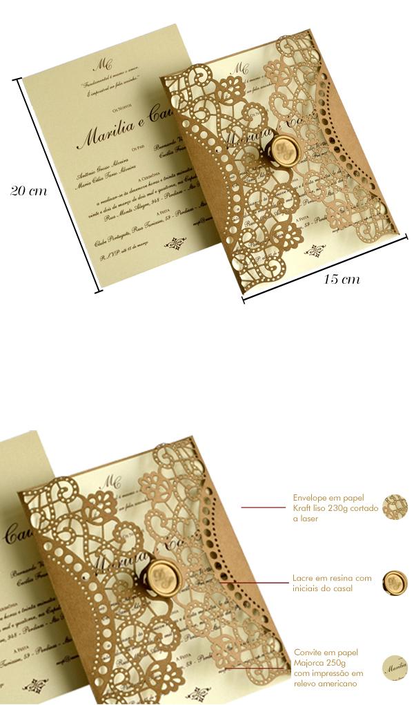 Convites de casamento com corte laser marilia papel e estilo