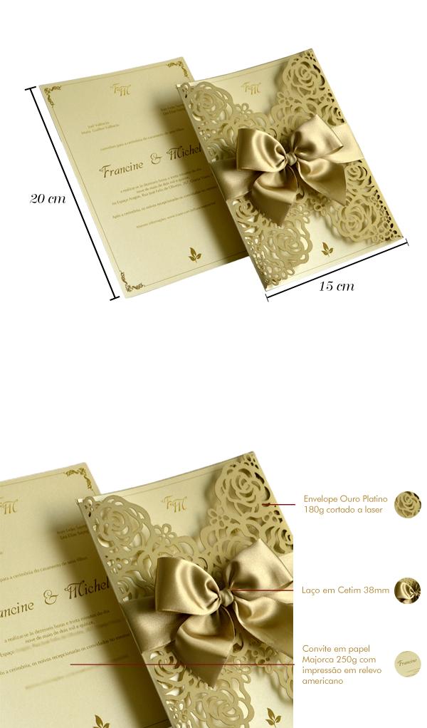 Convites de casamento  com corte laser Michel-papel e estilo