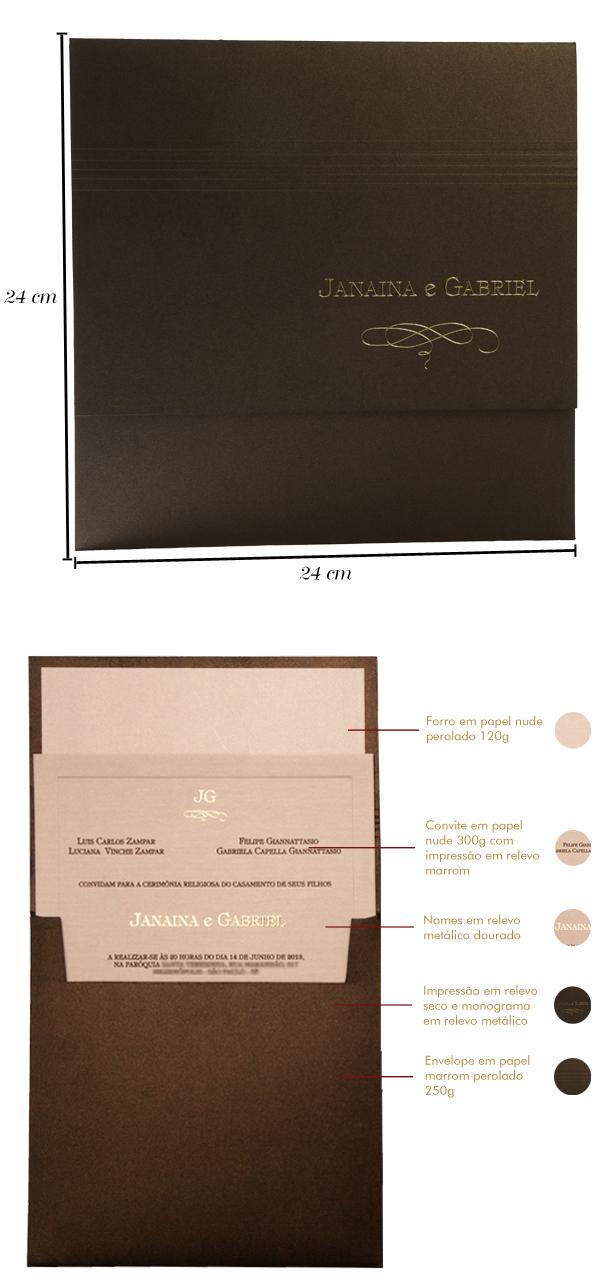 Convites de casamento Premium Janaina
