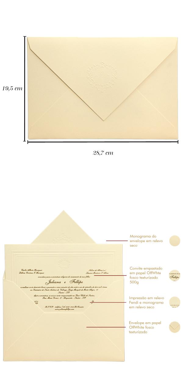 Convites de casamento tradicionais Juliana