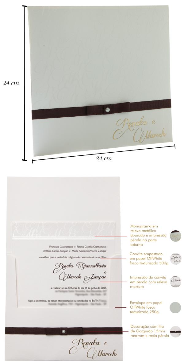 Convites de casamento Premium Renata