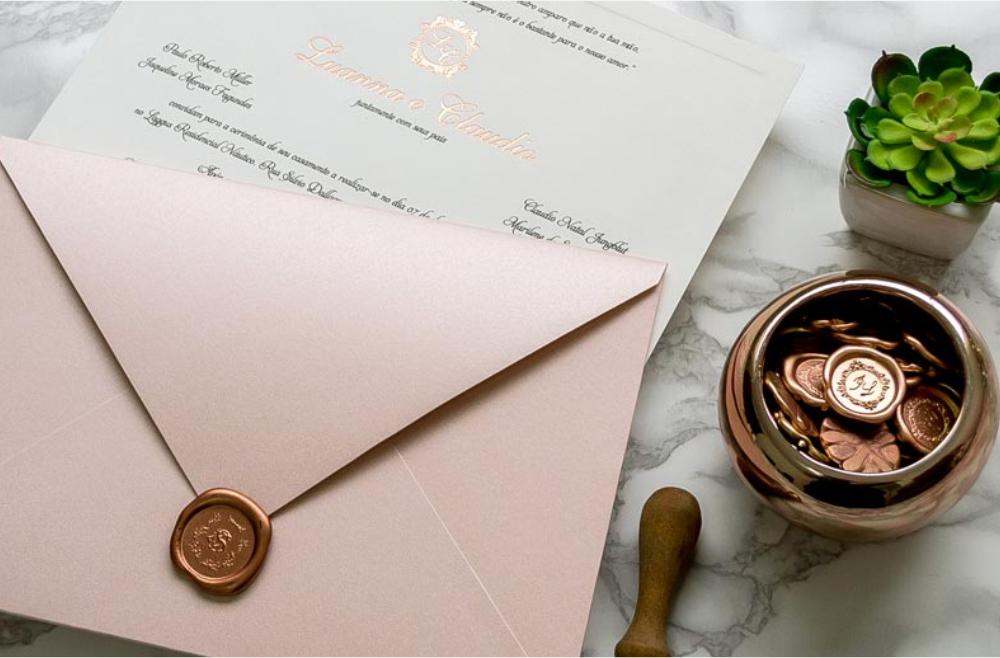 Convites de casamento tradicionais – Rose Gold