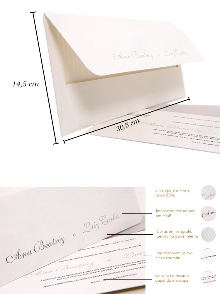 Convites de casamento Platinum Ana Beatriz