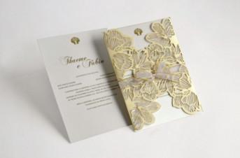 Convites de casamento com corte Laser – Thaeme