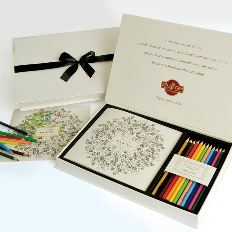 Convites de casamento para colorir