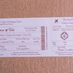 Convite de casamento check in passagem aerea