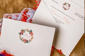 Convites de casamento Rústico - Gerbera