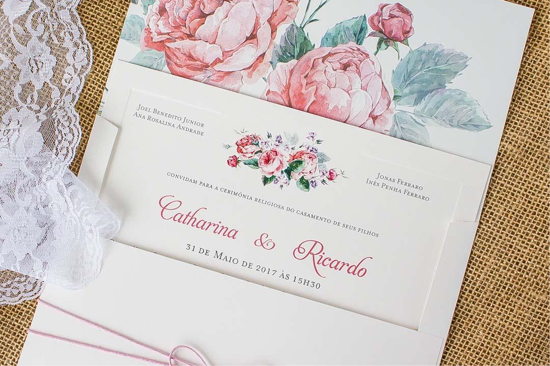 Convites de casamento no campo Flores de Peônias