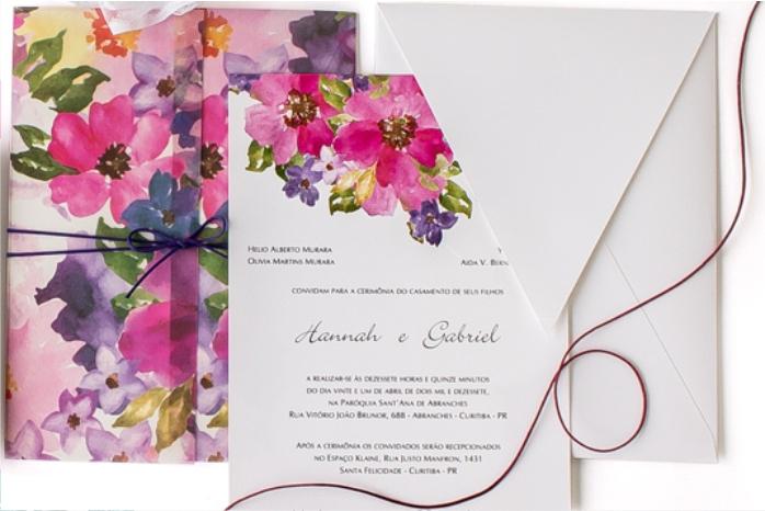 Convites de casamento tradicionais – Aquarela Hanna