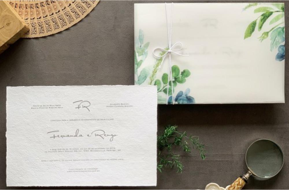 Convites de casamento no campo Algodão