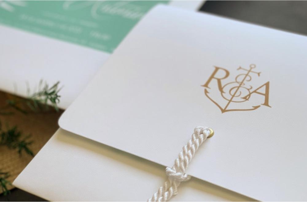 Convites de casamento rústicos para casamentos na praia - Âncora
