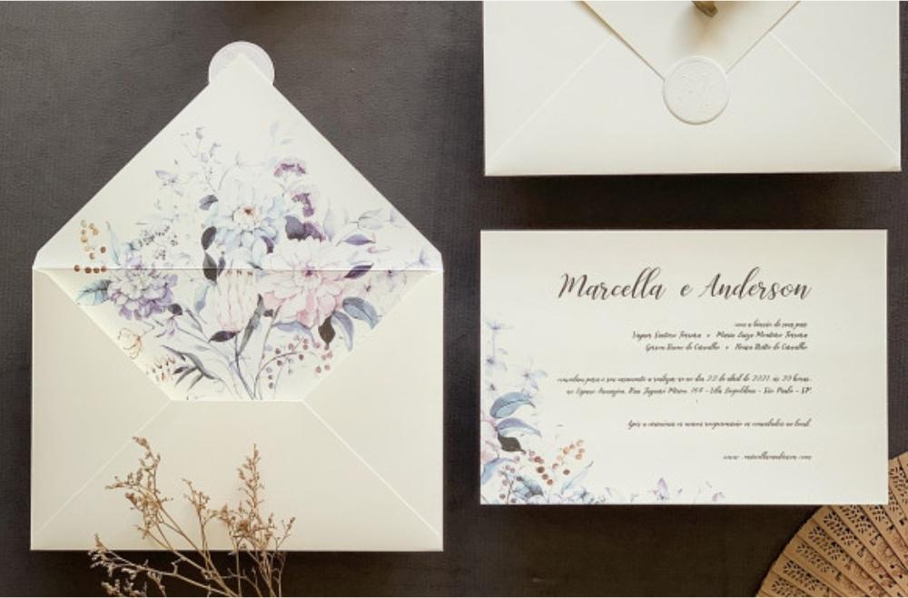 Convites de casamento no campo Anderson