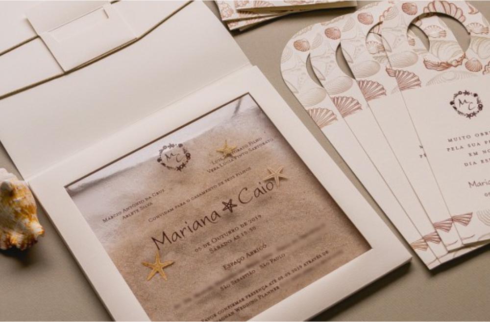 Convites de casamento rusticos para casamentos na praia - Areia
