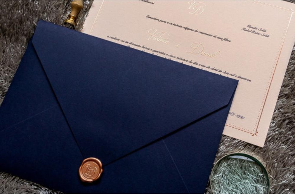 Convites de casamento Modernos - Azul Clássico