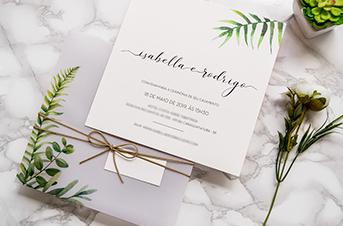 Convites de casamento no campo Botânico