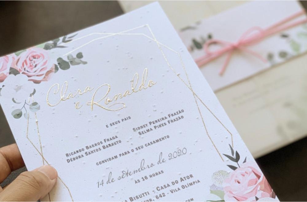 Convites de casamento no campo Clara