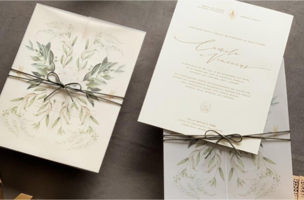 Convites de casamento no campo Folhagens