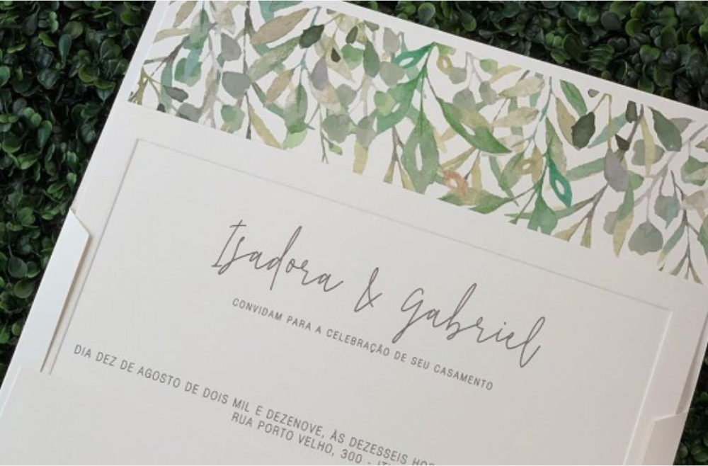 Convites de casamento Aquarela - Isadora