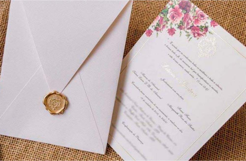 Convites de casamento no campo Letícia
