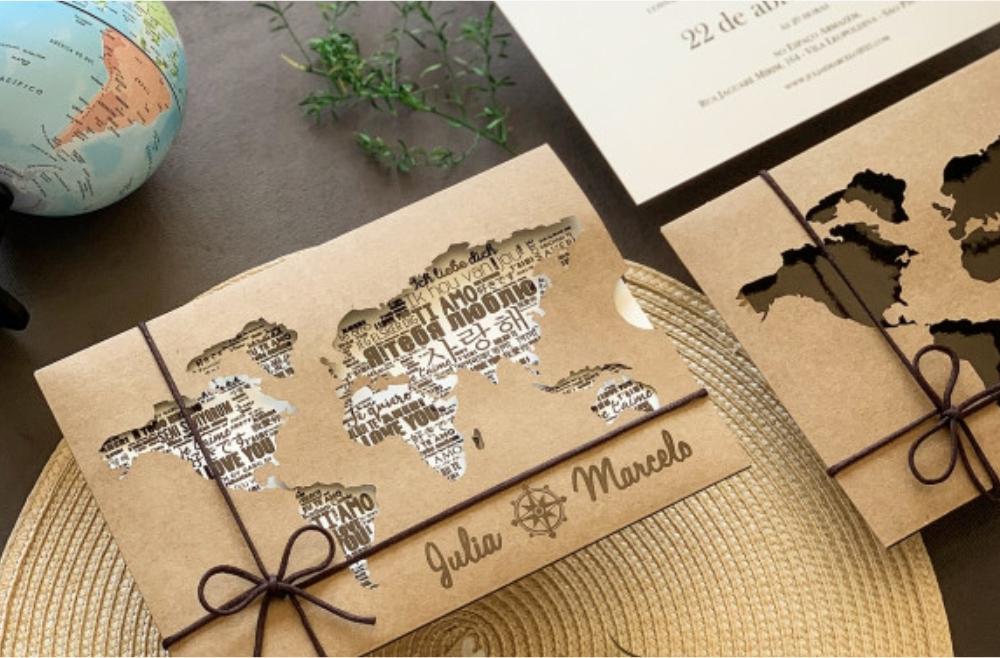 Convites de casamento no campo Mapa