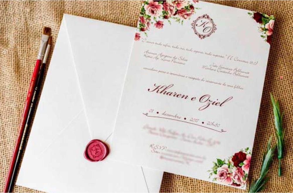 Convites de casamento Aquarela - Marsala