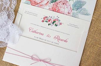 Convites de casamento Modernos - Flores de Peônia