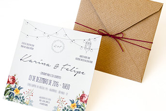 Convites de casamento rusticos para casamentos na praia - Felipe