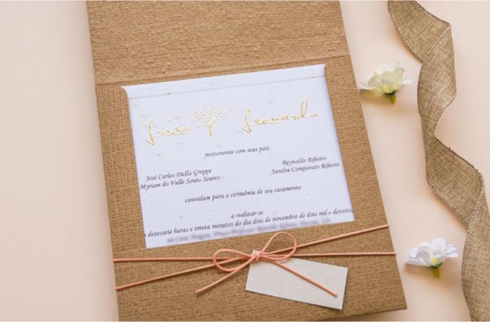 Convites de casamento rusticos para casamentos na praia - Semente