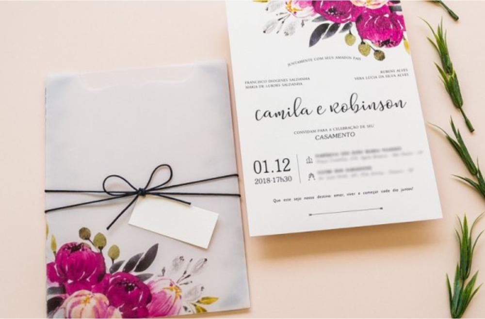 Convites de casamento no campo Spring
