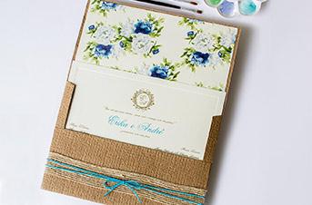 Convites de casamento no campo Turquesa