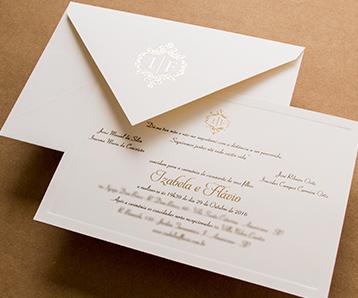 Convites de casamento em franca papel e estilo modelo classico