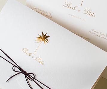modelo de convite de casamento no Guaruja papel e estilo