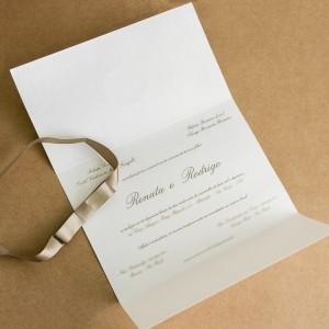 Convites de Casamento Simples rosa nude