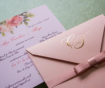 Convites de casamento em Taubaté papel e estilo