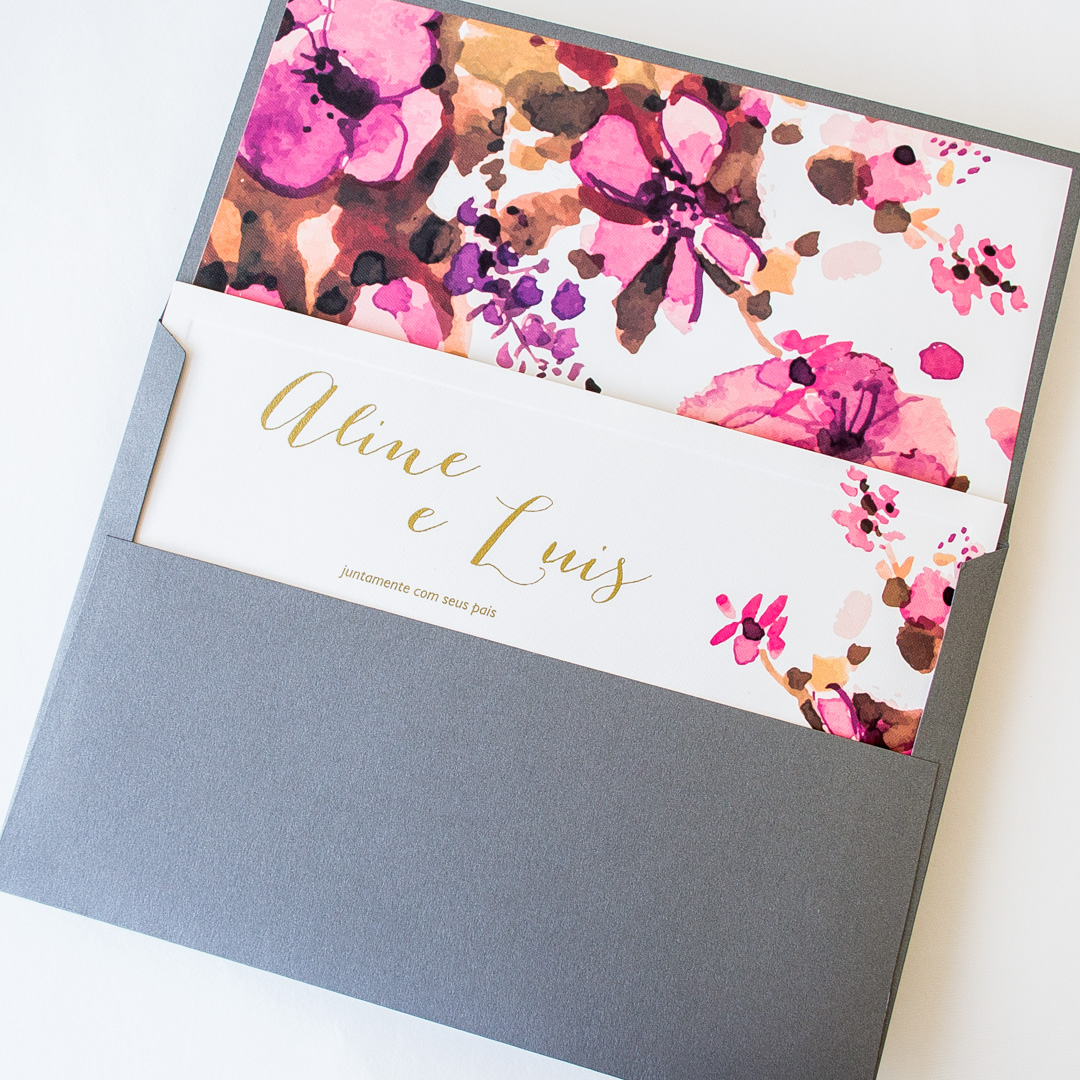 Convites de casamento Aquarela - Aline