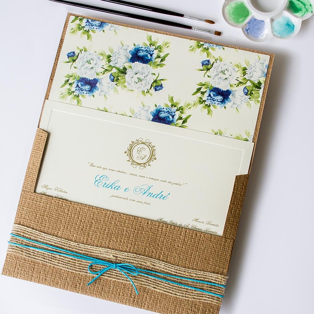 Convites de casamento Aquarela - Turquesa