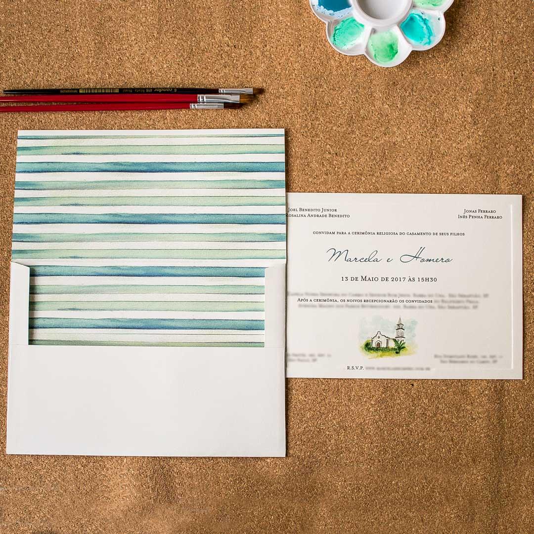 Convites de casamento Aquarela - Praia