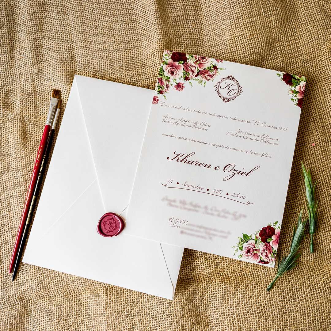 Populares Convites de casamento Aquarela - Marsala - Convite Papel e Estilo JM61
