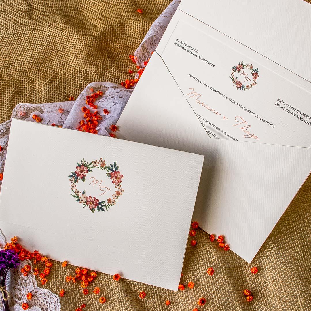 Convites de casamento Aquarela - Gerbera