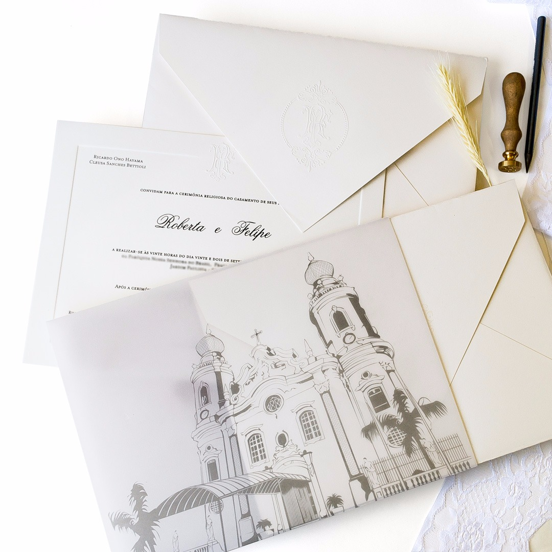 Convites de casamento Aquarela - Igreja