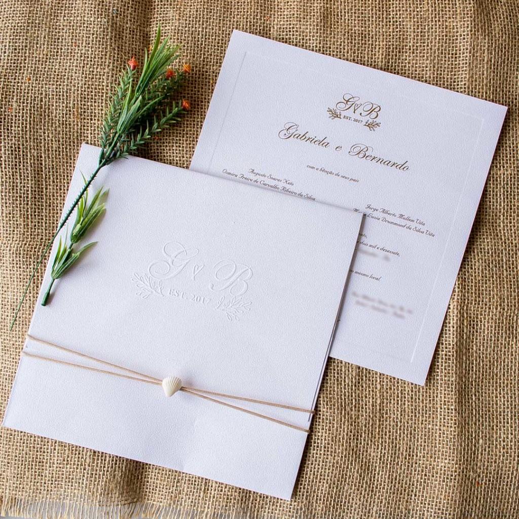 Convite com Concha - Casamento na Praia