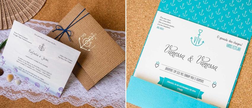 Convite Âncora - Casamento na Praia